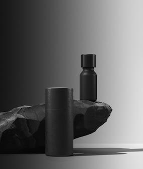 Bottle of essential massage oil on stone  beauty treatment minimal black design packaging mock up d ...