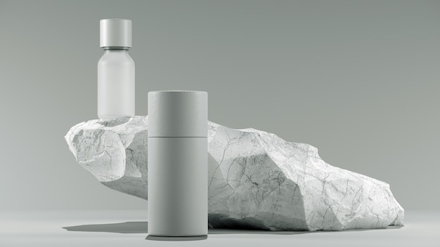 Bottle of essential massage oil on stone  beauty treatment minimal white design packaging mock up d ...