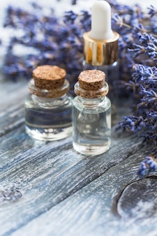 Bottle of essential oil on table