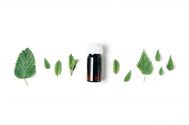 Bottle of essential oil with fresh nettle and peppermint on white