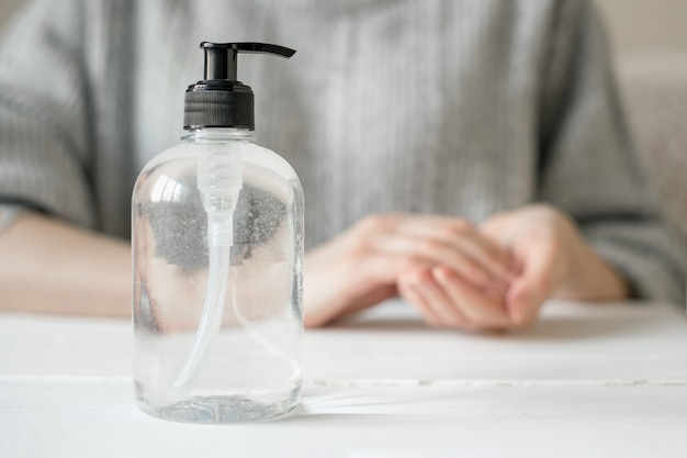 Bottle of gel antiseptic and an antibacterial alcohol for hygiene and washing hands against coronovirus