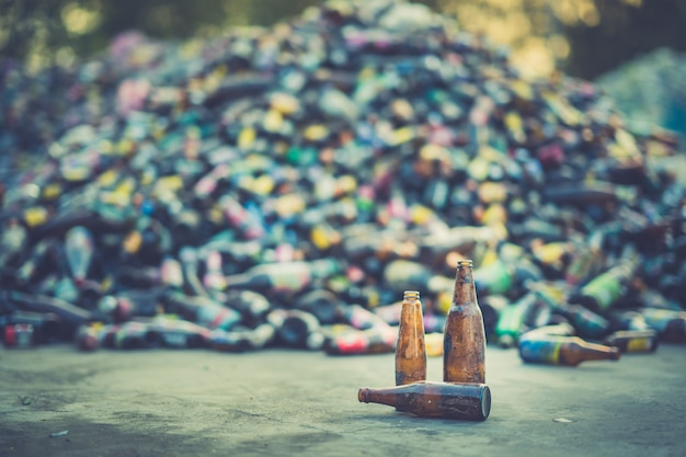 Bottle on ground for recycle industry