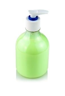 Bottle of hand sanitizer with dispenser