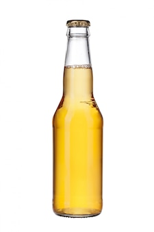 Bottle of light beer isolated close up