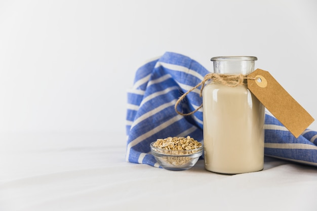 Bottle of milk and cereals