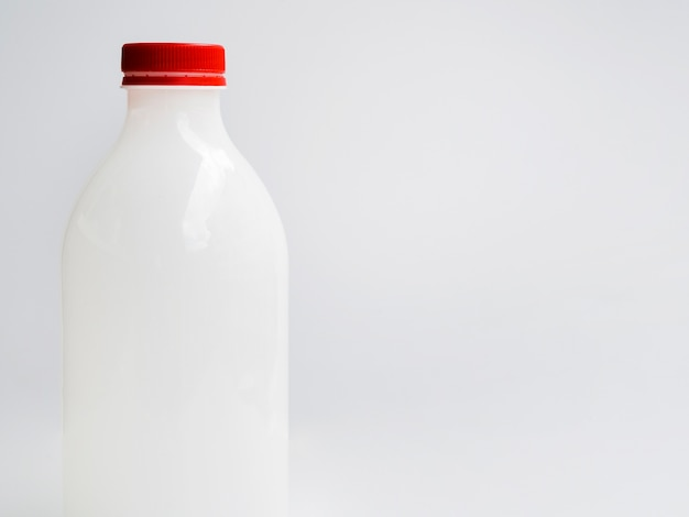 Bottle of milk with red lip