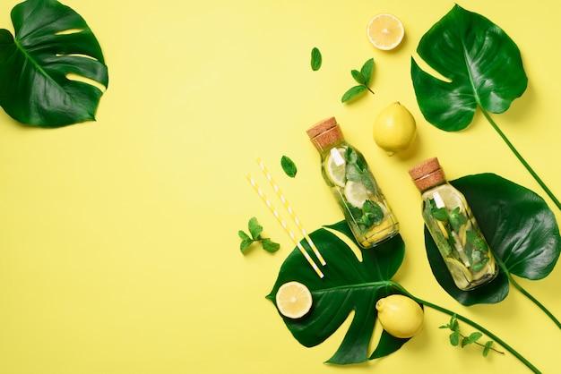 ミント、レモン、熱帯のモンステラとデトックス水のボトルを残します。