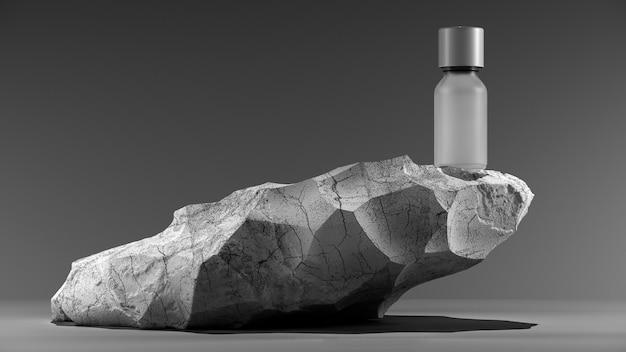 Бутылка эфирного массажного масла на камне, косметическая процедура, минималистичный белый дизайн упаковки, макет д ...