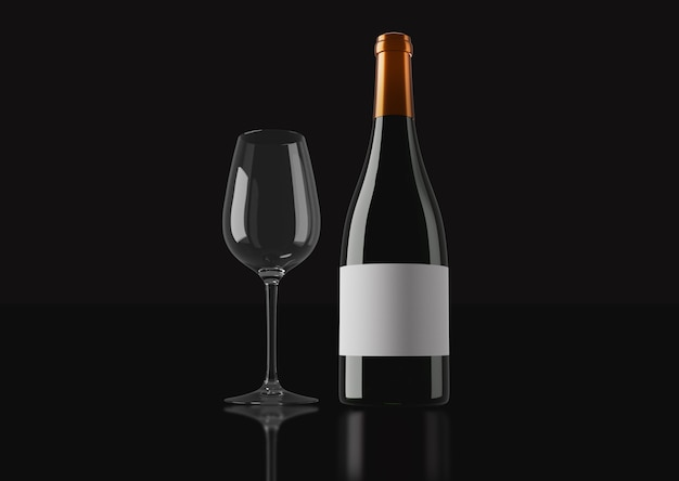 어두운 배경에서 레드 와인과 유리 컵의 병