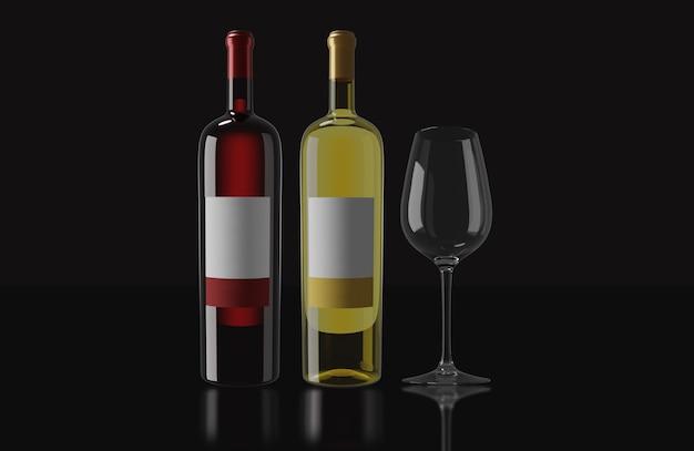 赤ワインのボトル、白ワインのボトル、暗い背景のカップ