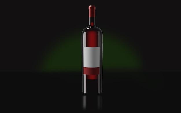 어두운 배경에서 레드 와인 한 병