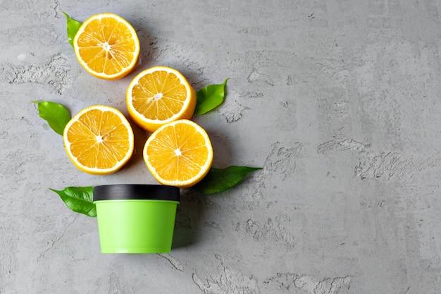 레몬 슬라이스 스킨 케어 화장품 병