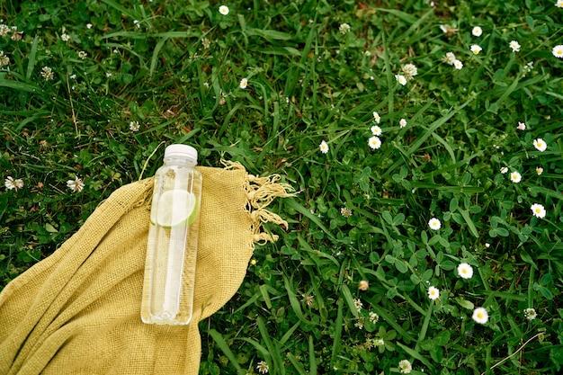 레몬 조각으로 물 한 병은 푸른 잔디에 담요에 놓여 있습니다.