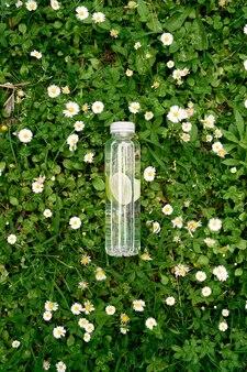 레몬 물 한 병은 데이지 중 푸른 잔디에 놓여 있습니다.