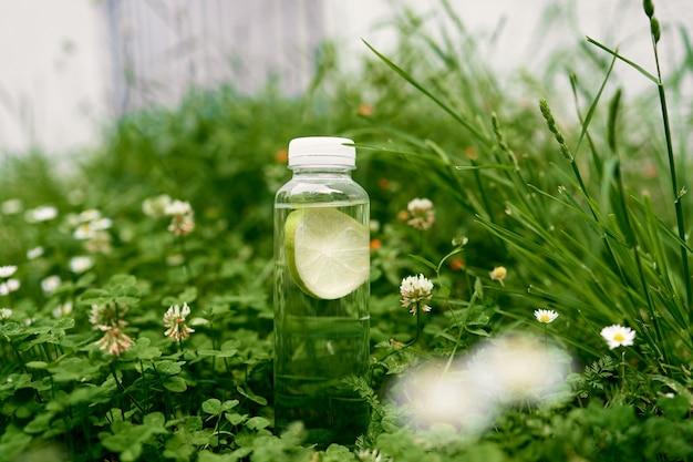 레몬 물 한 병은 데이지와 클로버에 푸른 잔디에 선다