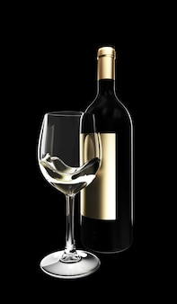 Бутылка белого вина со стеклом на темноте