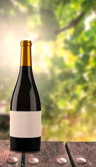 ブドウ園の背景を持つワインのボトル。