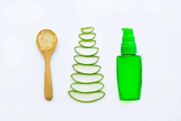 Bottle of products for spa or skin care cosmetic aloe vera gel on white background.