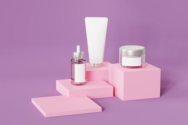 Бутылка, туба и банка для косметических продуктов на розовом подиуме