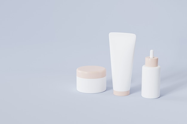 Bottle, tube and jar for cosmetics products on blue surface