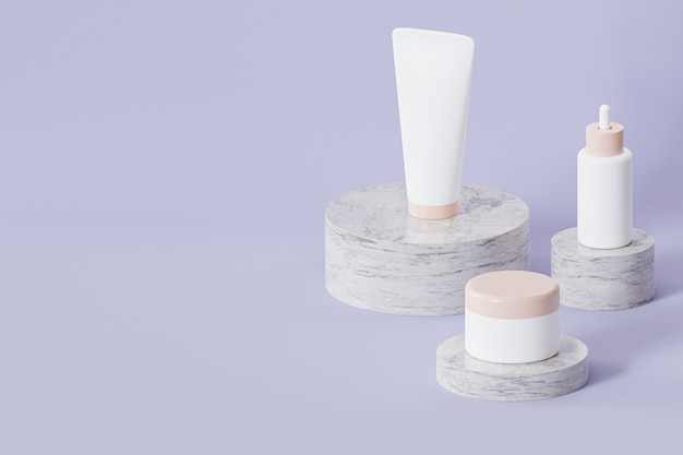Bottle, tube and jar for cosmetics products on marble podiums on gray surface