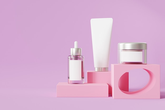 Bottle, tube and jar for cosmetics products on pink podium
