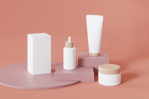 Bottle, tube, jar and package box for cosmetics products on orange surface