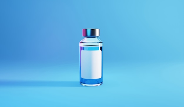 Bottle vial of covid-19 vaccine. 3d render illustration.