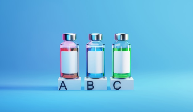 Covid-19 백신 infographic 템플릿의 병 유리 병. 3d 렌더링 그림.