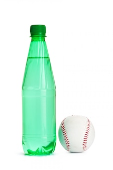 Bottle of water and baseball ball