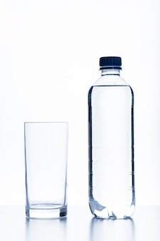 Bottle of water and glass