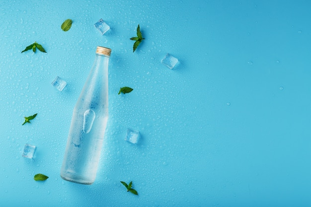 Bottle of water with ice cubes and mint leaves