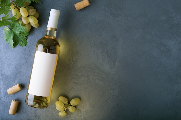 Bottle of white wine with label.top view.
