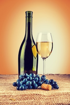 Bottle of wine and wineglass with branch of grape on burlap instagram stile