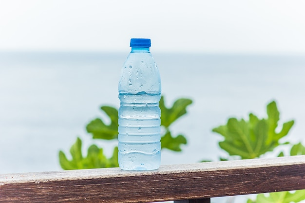 Bottle with clean drinking water against the sea