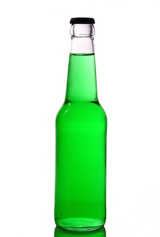 Bottle with green liquid on white