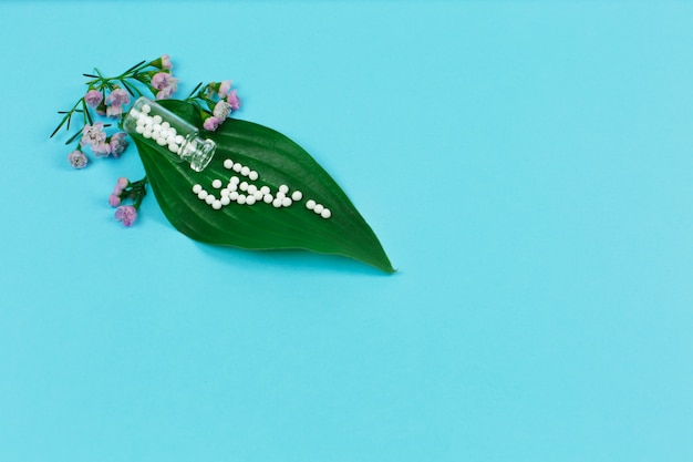 Bottle with homeopathic pills and green plant leaves on blue background.