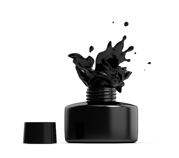Bottle with open cap and splashing black paint inkwell render product image of inkstand flacon