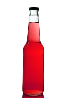 Bottle with red liquid in white background