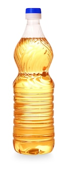 The bottle with a yellow oil cut out on white background