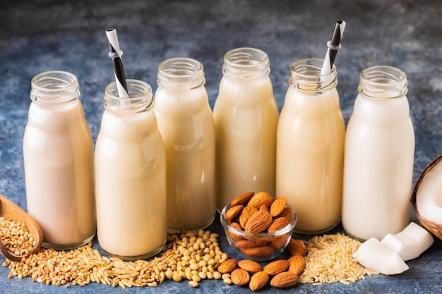 A bottles of alternative  milk and ingredients for cooking.