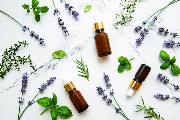Bottles of essential oil with rosemary, thyme, lavender, mint on a white marble