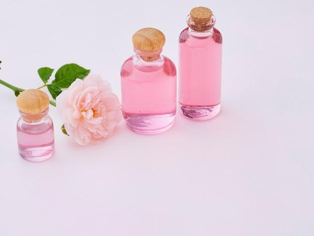Bottles of essential rose oil
