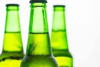 Bottles of cold beer macro photography