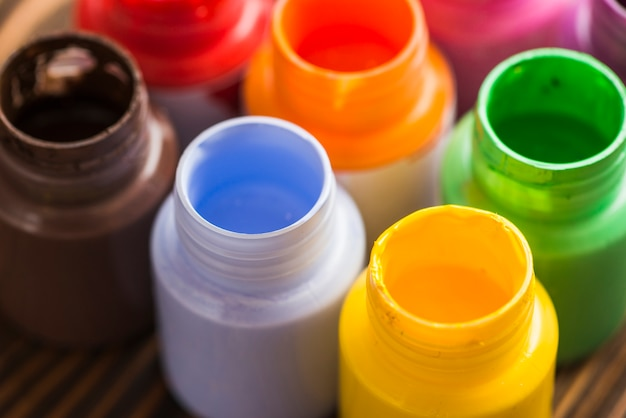 Bottles with bright paints