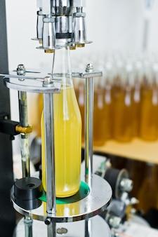 Bottling factory   beer bottling line for processing and bottling beer into bottles