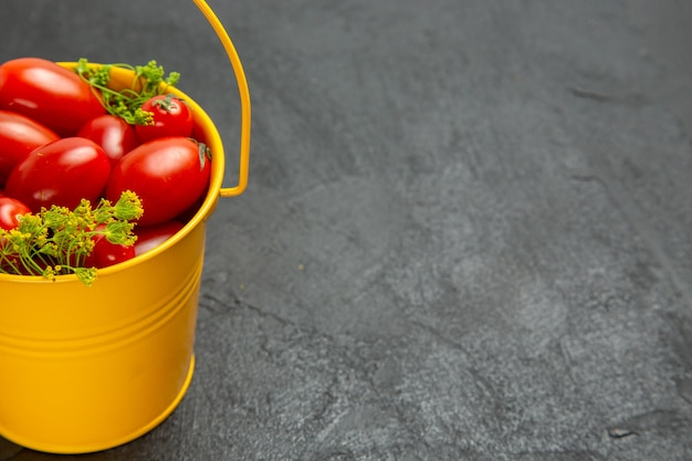 Bottom half view bucket of cherry tomatoes and dill flowers on the left of dark background