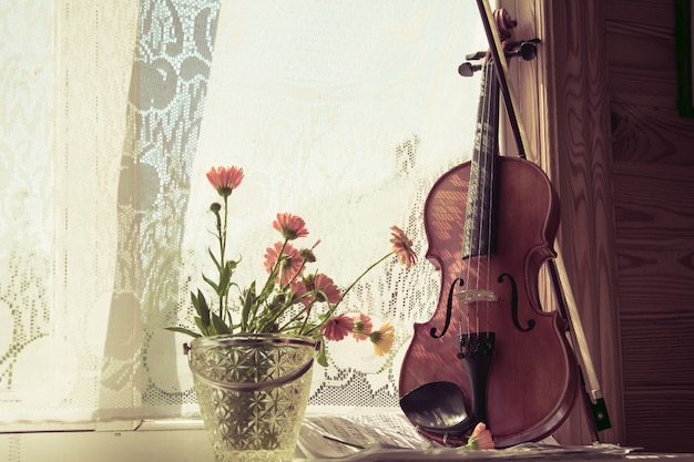 Bottom half of violin with sheet music and flowers the front on windows background.