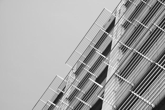 Bottom view of building facade