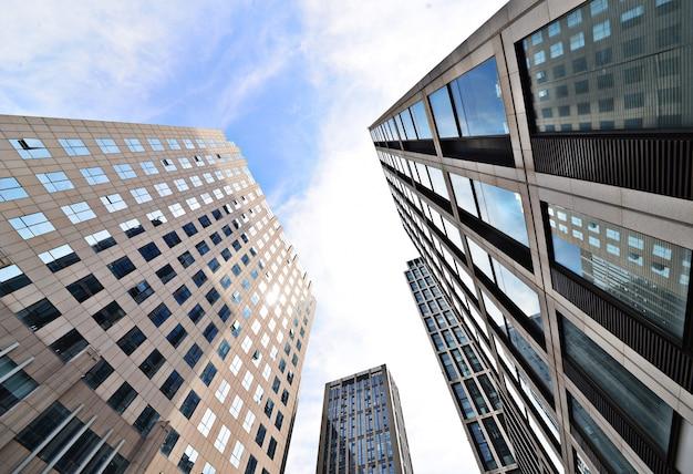 Bottom view of modern buildings